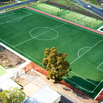 Artificial turf soccer pitch